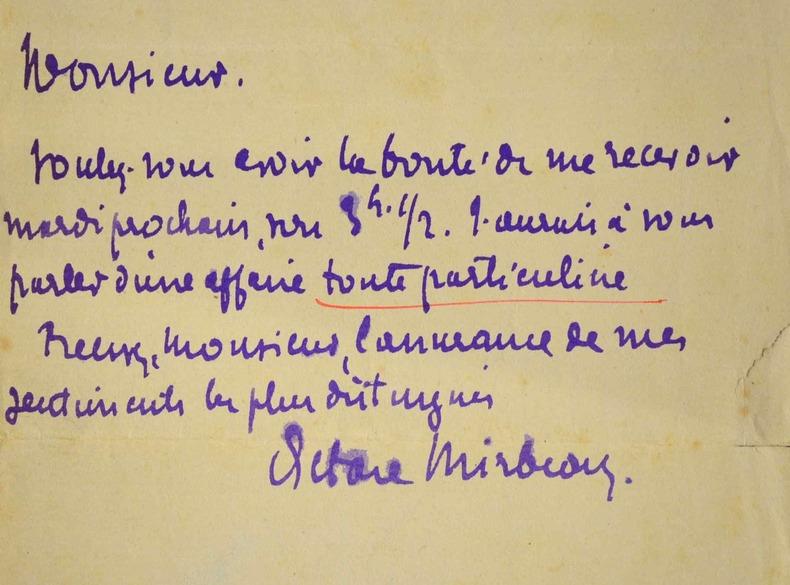 Octave Mirbeau fixe un rendez-vous..
