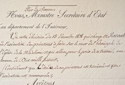 Raverat rémunéré pour la décoration de l'Eglise de la Madeleine.. Camille Montalivet (comte de) (1801-1890) Ministre de l'Intérieur de Louis-Philippe ...