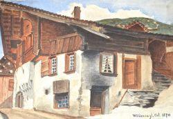 Paire de gouaches du village de Wilderswil (Suisse), réalisées en 1870..