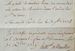 Le Mal de Noailles demande une croix de Saint-Louis pour un Garde du corps du Roi.. Louis Noailles (de) (1713-1793) Maréchal de France.