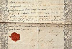 Très beau brevet de congé du XVIIe du Régiment Royal des Vaisseaux..