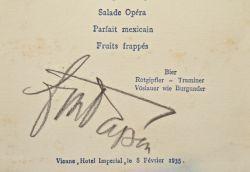 Menu signé par Von papen en 1935.. Franz Von Papen (1879-1969) Chancelier du Reich, il aide Hitler à conquérir le pouvoir.