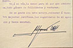 En pleine guerre du Rif, Alphonse XIII d'Espagne adresse ses voeux à un chef chérifien.. Alphonse XIII d'Espagne (1886-1941) 41è roi d'Espagne, de ...