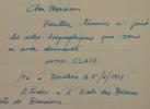 Note autobiographique d'Antoni Clavé.. Antoni Clav? (1913-2005) Peintre catalan.