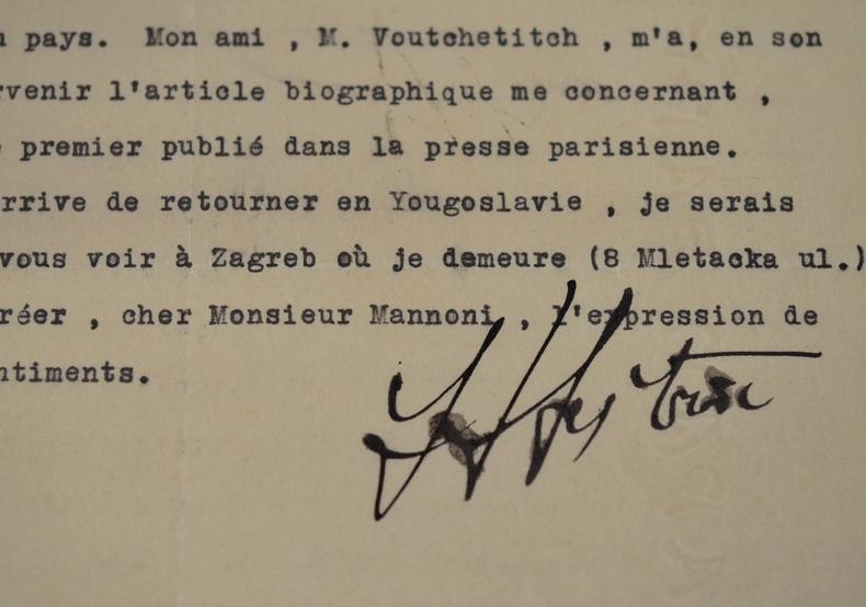 Rare lettre du sculpteur yougoslave, Ivan Metrovi?. Ivan Mestrovic (1883-1962) Le plus important sculpteur croate et yougoslave du XXe siècle.