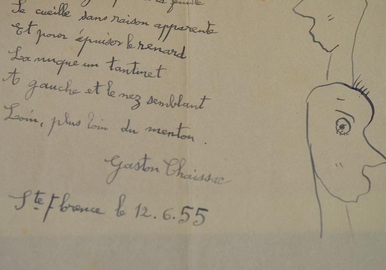 Poème agrémenté d'un très beau dessin de Gaston Chaissac.. Gaston Chaissac (1910-1964) Sculpteur, peintre et poète, figure emblématique, avec ...