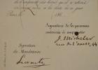 Jules Michelet autorisé à emprunter des livres à la Bibliothèque Impériale.. Jules Michelet (1798-1874) le grand historien.