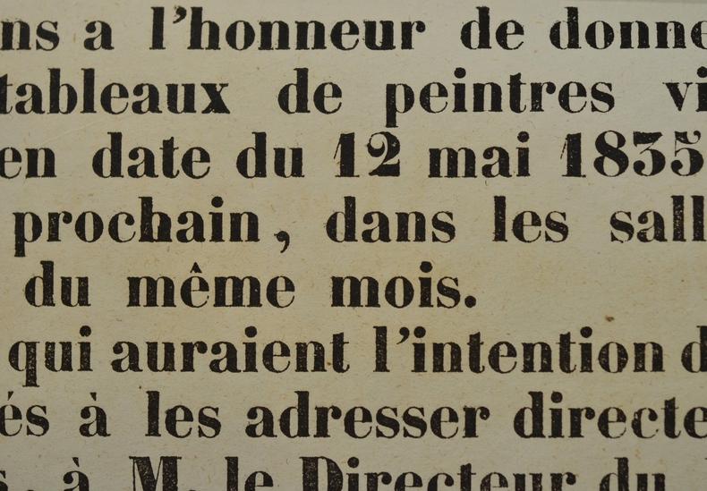 Affiche d'une exposition de peinture à Orléans en 1839..