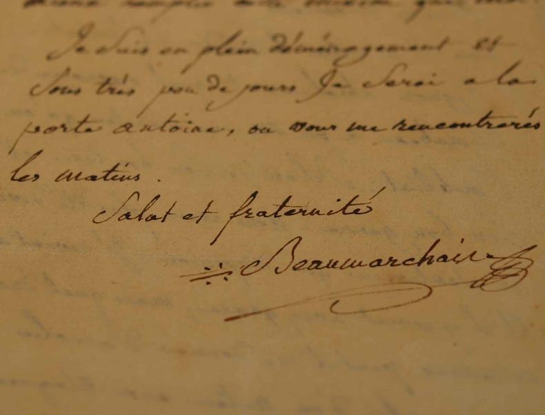 Belle lettre de Beaumarchais sur Mirabeau.. Pierre Augustin Beaumarchais (Caron de) (1732-1799) Ecrivain, auteur du Mariage de Figaro (1784).