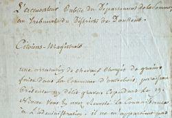 L'accusateur public de la Somme désavoue les juges de Doullens.. Jean-Baptiste Duval (1730-1811) Accusateur public du département de la Somme.