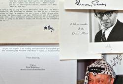 Ensemble d'autographes de personnalités israéliennes et palestiniennes..