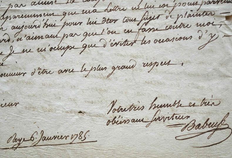 Très rare lettre de Gracchus Babeuf.. Gracchus Babeuf (1760-1797) Révolutionnaire, il forma la « conjuration des Égaux » contre le Directoire et fut ...