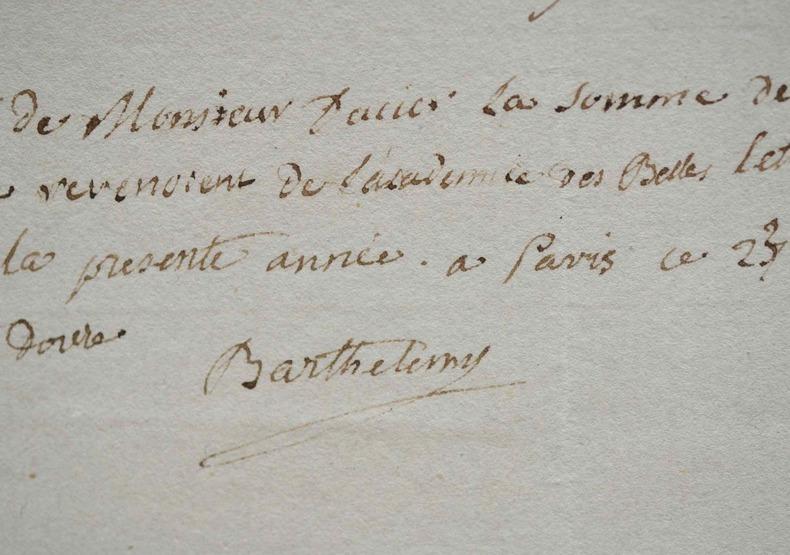 L'abbé Barthélemy reçoit des jetons de présence de l'Académie.. Jean-Jacques Barthélemy (1716-1795) Ecclésiastique, archéologue, numismate et homme de ...
