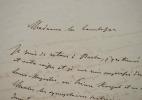 Lettre du Feld-maréchal Edwin von Manteuffel à la comtesse de Mirabeau.. Edwin Manteuffel (von) (1809-1885) Feld-maréchal prussien, gouverneur ...