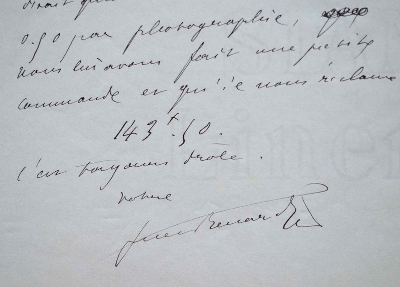 Drôle de missive de Jules Renard.. Jules Renard (1864-1910) Ecrivain, auteur de Poil de carotte, membre de l'Académie Goncourt.