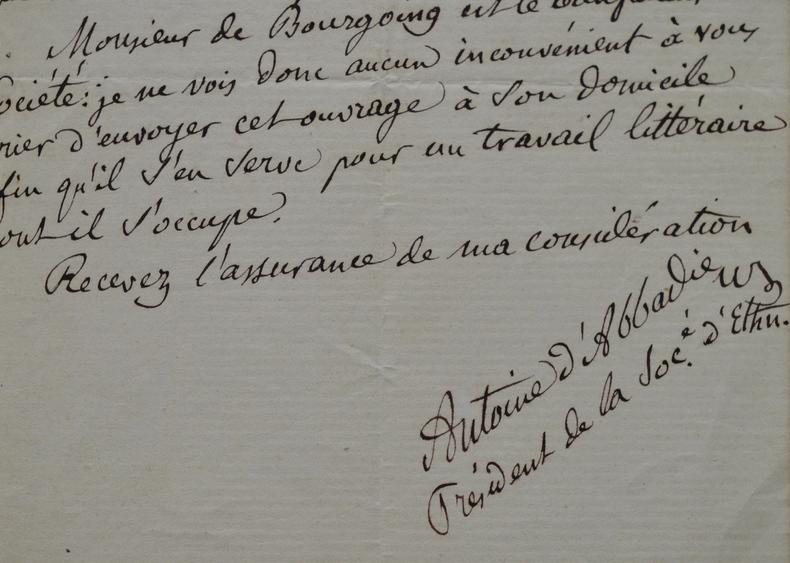 Antoine d'Abbadie accorde une faveur au Baron de Bourgoing.. Antoine d'Abbadie Thomson (1810-1897) Explorateur et fervent catholique. Il se consacre ...