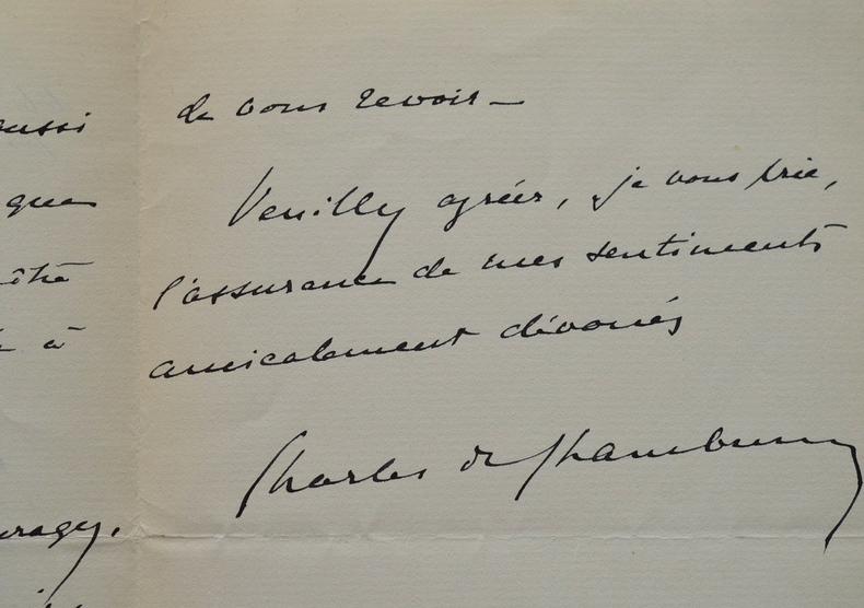 Charles de Chambrun fait part de son émotion à Georges Goyau.. Charles Chambrun (de) (1875-1952) Diplomate et écrivain. Membre de l'Académie ...