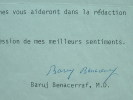 Le prix Nobel Benacerraf raconte sa découverte.. Baruj Benacerraf (1920-0) Médécin vénézuélien, prix Nobel de Médecine en 1979.