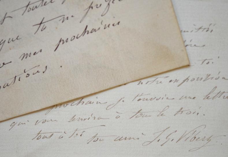 Deux lettres du peintre Jean-Georges Vibert à son ami et élève Georges Cain.. Jehan Georges Vibert (1840-1902) Peintre académiste, il acquit une ...