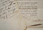 Deux certificats de Garde de la Porte du Roi Louis XV.. Jean-Baptiste-Joachim Colbert (de Croissy) (1703-1777) Fils du secrétaire d'Etat aux Affaires ...