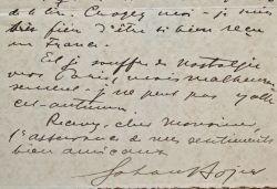 L'écrivain norvégien Johan Bojer refuse l'écriture d'un article.. Johan Bojer (1872-1959) Romancier, dramaturge et conteur norvégien, célèbre surtout ...