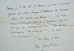 Lettre de Cocteau sur la publication du Journal d'un inconnu.. Jean Cocteau (1889-1963) Écrivain, dessinateur et cinéaste. Membre de l'Académie ...