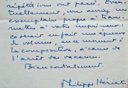 7 lettres de Philippe Hériat sur ses activités littéraires.. Philippe Hériat (1898-1971) Romancier, lauréat du Goncourt (1939), du Renaudot (1931) et ...