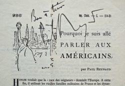 Paul Reynaud écrit des articles pour la Revue de Paris.. Paul Reynaud (1878-1966) Homme politique, plusieurs fois ministre sous la IIIe République, il ...