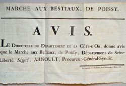 Affiche règlementant le marché aux bestiaux de Poissy..