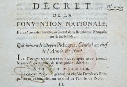Deux imprimés sur le général Pichegru.. Jean Charles Pichegru (1761-1804) Général, commandant en chef de toute l'armée du Rhin, il prend part à la ...