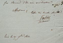 Belle lettre sur la gravure des planches de l'ouvrage du général Mathieu Dumas.. Ambroise Tardieu (1788-1841) Graveur et éditeur d'estampes, graveur ...
