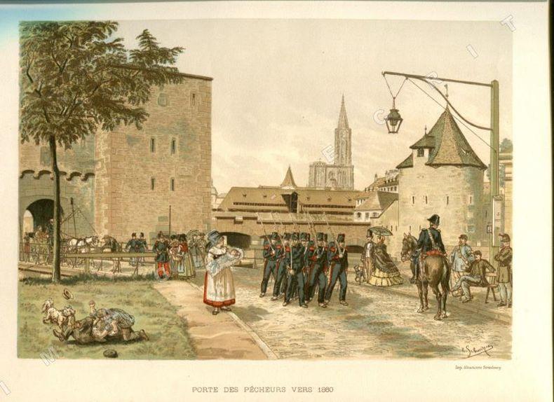 """""""Porte des pêcheurs vers 1860"""". STRASBOURG historique et pittoresque depuis son origine jusquen 1870. Imprimerie Alsacienne, 1894. . SEYBOTH (Adolphe) ..."""