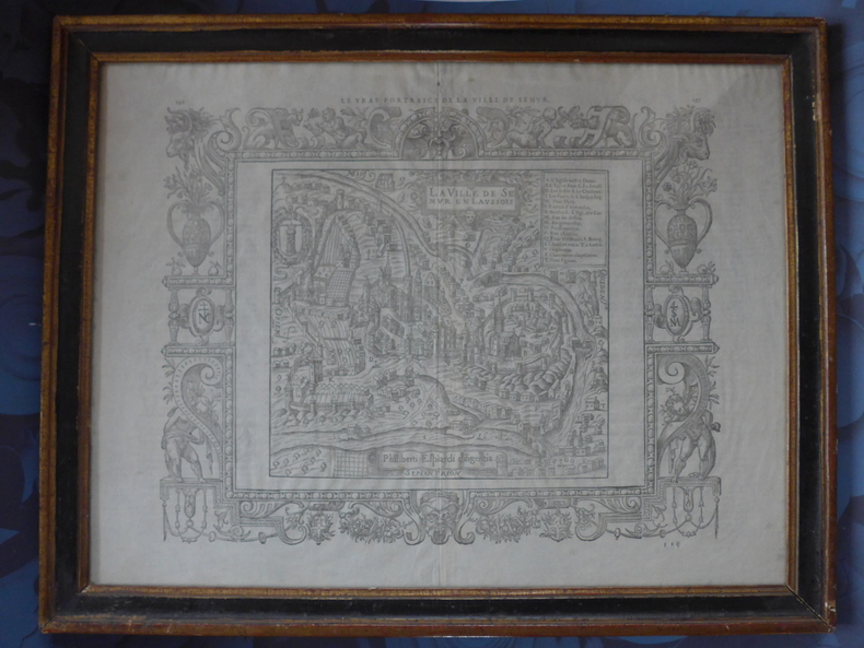 """Gravure sur bois """"Le vrai portraict de la ville de Semur"""". Belleforest (François de)"""