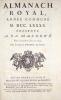 Almanach royal, année commune M.DCC.LXXXX.Mis en ordre et publié par Debure, gendre de feu M. D'Houry..