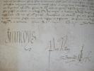 REQUETE ET QUIETAN de Robert de Villemoyne et Pierre de Neumant de 202 livres 10 sous tournois du IXme octobre 1541. DOCUMENT ORIGNAL SIGNE.. FRANCOIS ...