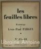 Les feuilles libres. Hommage à Léon-Paul Fargue n°45-46. FARGUE (Léon-Paul)