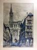 Strasbourg : La rue du Bain aux Plantes et la cathédrale vue de la rue Mercière.. PINET (Charles).