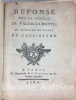 Ensemble de cinq pièces relatives à l'affaire dite du Collier de la Reine. Réponse pour la Comtesse de Valois-Lamotte, au mémoire du Comte de ...