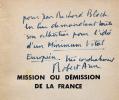 L'Ordre Nouveau. Mission ou DÃmission de la France. RÃponse à Hitler. (ENVOI AUTOGRAPHE A JEAN-RICHARD BLOCH).. ARON (Robert)