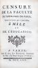 """1- [LEGRAND (Louis)]. Censure de la Faculté de Théologie de Paris, Contre le Livre qui a pour titre, """"Emile, ou de l'Éducation"""". Paris, P. Al. Le ..."""