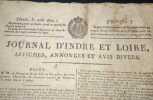 Journal d'Indre et Loire - Affiches , Annonces et Avis divers - 31 Aout 1820 - Numéro 730. Collectif