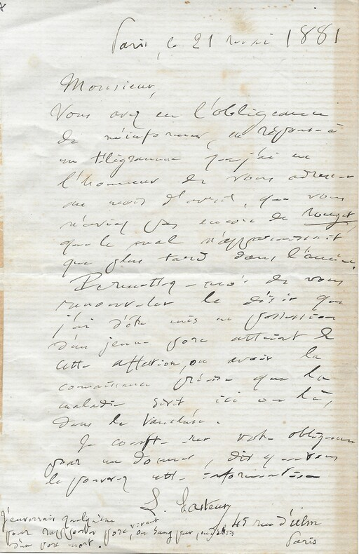 Lettre autographe signée sur la recherche vaccinale. Louis PASTEUR