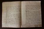 Intéressant courrier concernant une affaire qui a conduit le sieur de Bretagne en prison à Bar sur Seine.. [Avirey - Aube - Champagne Ardennes] Molé, ...