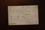 Carte autographe signée à Aurélien Scholl. Léon Diguet  (mort en 1892), journaliste au Figaro.