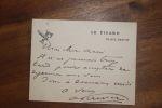 Lettre autographe signée à Aurélien Scholl. Antonin Périvier (1847-1924), journaliste, co-gérant du Figaro avec Magnard.
