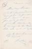 Lettre autographe signée. Bastien Monard (XIXe), acteur au Beaumarchais et au Vaudeville.