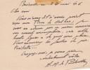 Lettre autographe signée. André Mabille de Poncheville (1886-1969), écrivain, journaliste, poète.