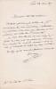 Lettre autographe signée. André-Jean-Marie Hamon (1795-1874), prêtre, curé de Saint-Sulpice.