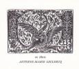 Ex-libris.. Antoine-Marie Leclercq (propriétaire) ; André Herry (artiste), Ex-libris.