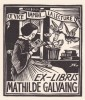 Ex-libris.. Mathilde Galvaing (propriétaire) ; Jean Lébédeff (artiste), Ex-libris.